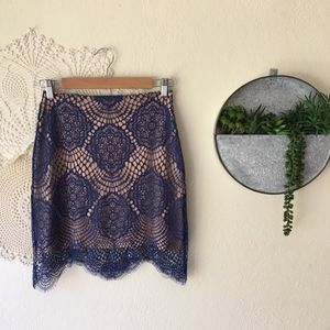 For Love and Lemons Grace blue lace mini skirt